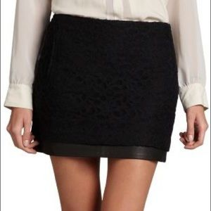 DVF Elley Lace and Leather Skirt